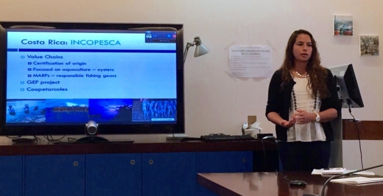 Juliana presents at FAO during her internship.